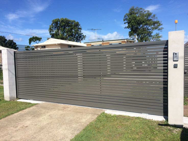 Aluminium Sliding Gate In Slate Grey With Video