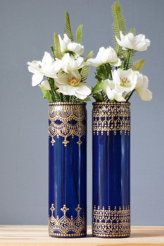 Henna Style Cobalt Blue Glass Bud Vases with Bohemian Designs
