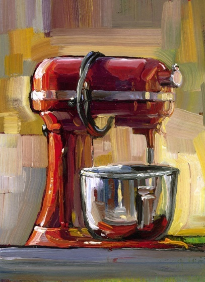 Red Kitchenaid mixer by Leslie Spanos, a painter, from Indiana.  Really interesting one-stroke-per-color painting technique.  I may take this challenge myself one day.