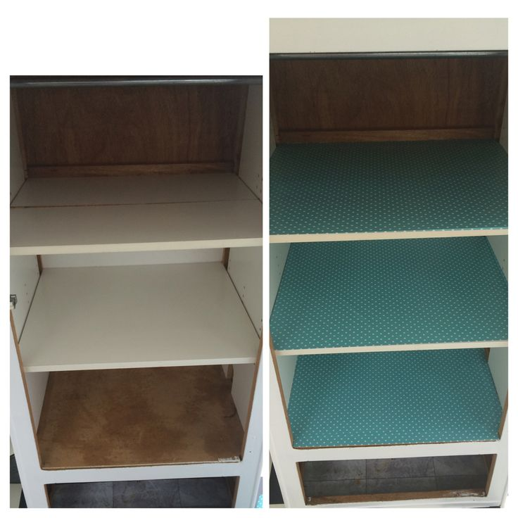 Before and after - cupboard shelving liners.
