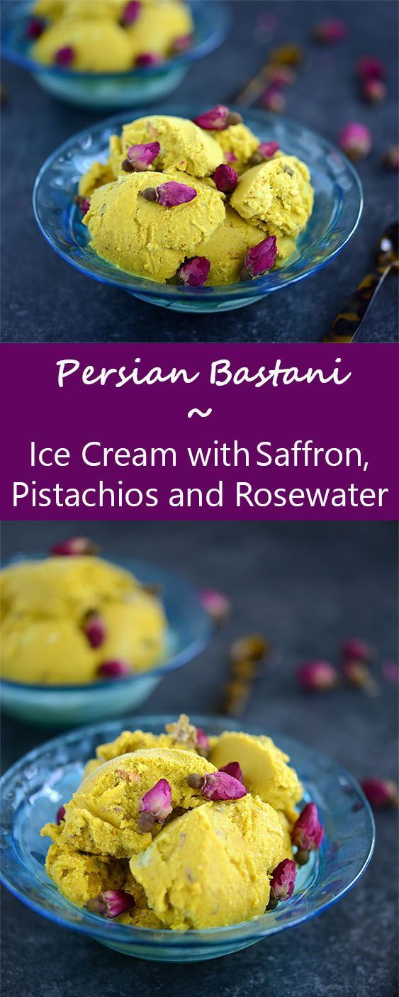 No churn bastani - Persian ice cream with rosewater, pistachios and saffron. A semi-homemade Middle-Eastern treat!