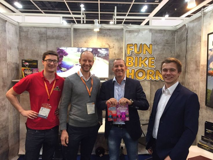 Tom and Ian with TrendAlliance at the Hong Kong Toy and Games Fair.  #minihornit #hornit #trendalliance #hongkongtoyandgamesfair
