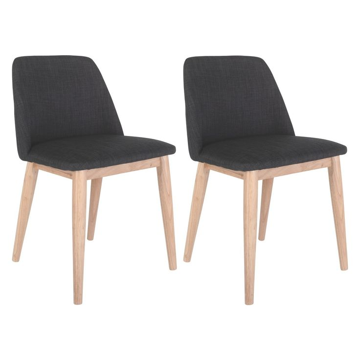 LUTHER Pair of dark grey upholstered dining chairs