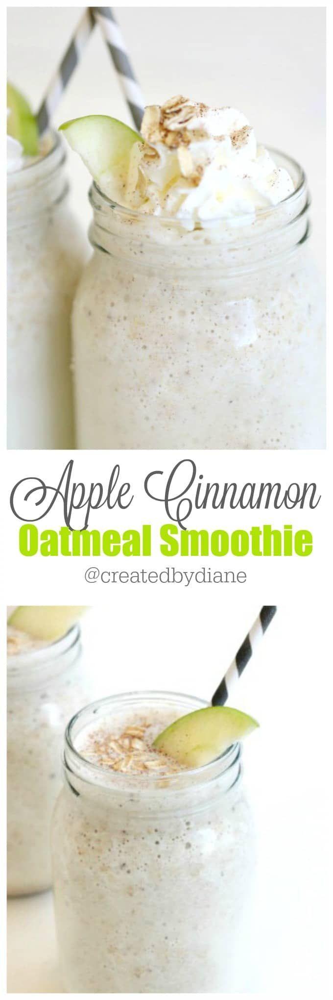 apple cinnamon oatmeal smoothie from www.createdby-diane.com @createdbydiane