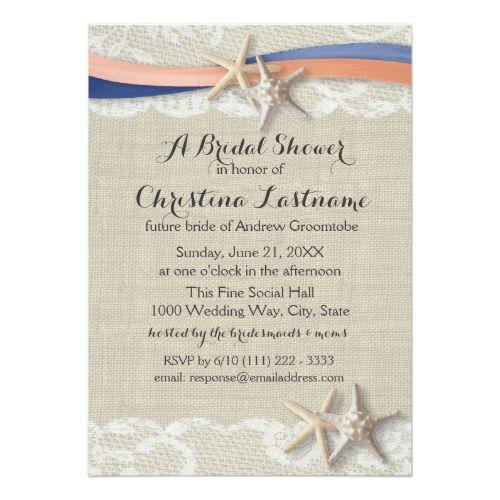 Starfish and Ribbon Blue Coral Bridal Shower Card