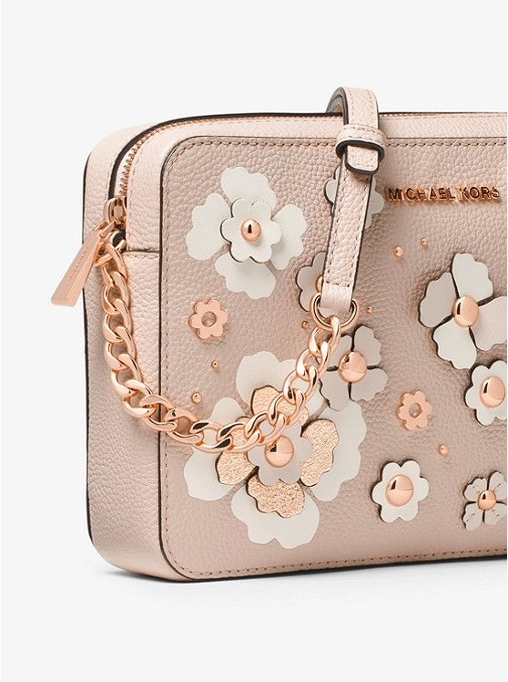 2c2722ada532 Jet Set Floral Embellished Leather Crossbody