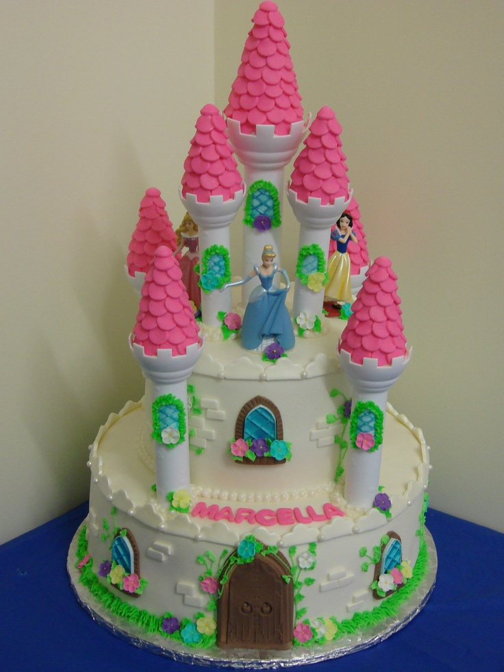 Princess Fondant Cake Design : Disney Princess Castle - 2 tier, fondant cake sprayed with ...