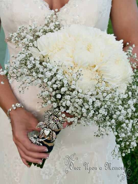 wedding bouquets for cheap white football mums and baby breath bridesmaids bouquet 8511