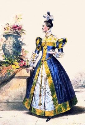 French lady at the court of Marie Stuart . 16th century nobility dress. Renaissance clothing ideas