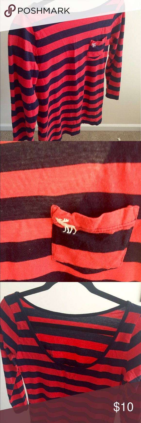 A&F stripe tshirt with deep back US M size Abercrombie & Fitch tshirt with red and black stripes. It has a deep scoop back with 3/4 skeeves. Abercrombie & Fitch Tops Tees - Long Sleeve