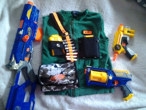 Nerf vest. My 1st ever attempt to sew. Used 2 stained old sweatshirts. He is nerf battle ready!
