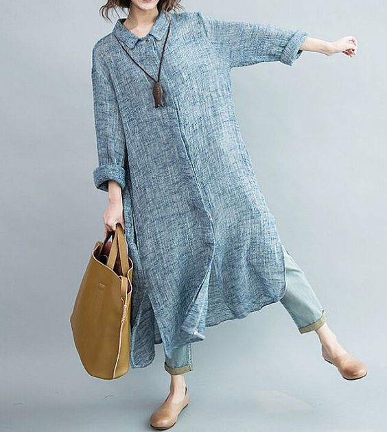 Women Single breasted large size long dress/ maxi dress/ by MaLieb: