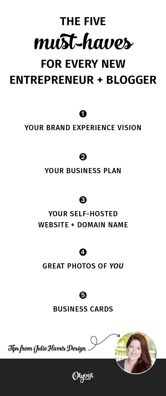 5 top branding + marketing tips for your new business or blog! Click for even more tips + resources. From Julie Harris Design + Olyvia.co