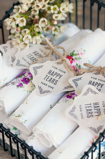 'Happy Tears' handkerchiefs for the wedding day can also be a wedding favor as well.