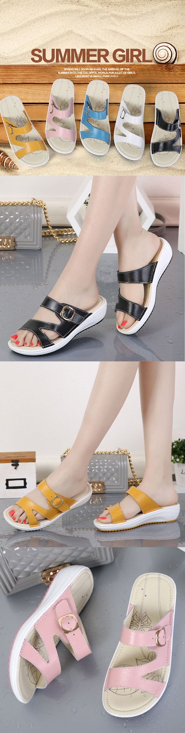 US$21.06  Women Casual Leather Slip On Flat Platform Sandals