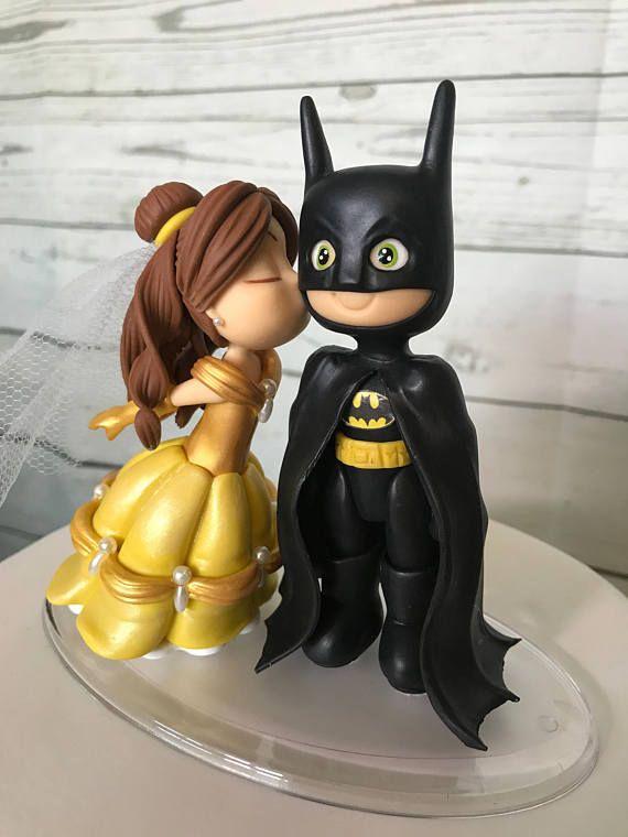 Belle Kissing Batman Wedding Cake Topper Batman Wedding Batman Cake Topper Batman Wedding Cakes