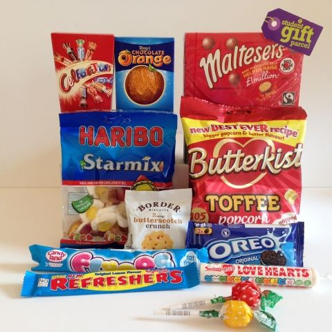 tuck in a box parcel. Aimed more at the school market. Have you got a boarder away at school who would appreciate this? You can add on healthy items too!