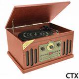 Toca-discos Classic Sistema Hi-Fi em Madeira com Toca-fitas K7, CD Player, Rádio AM e FM - CTX