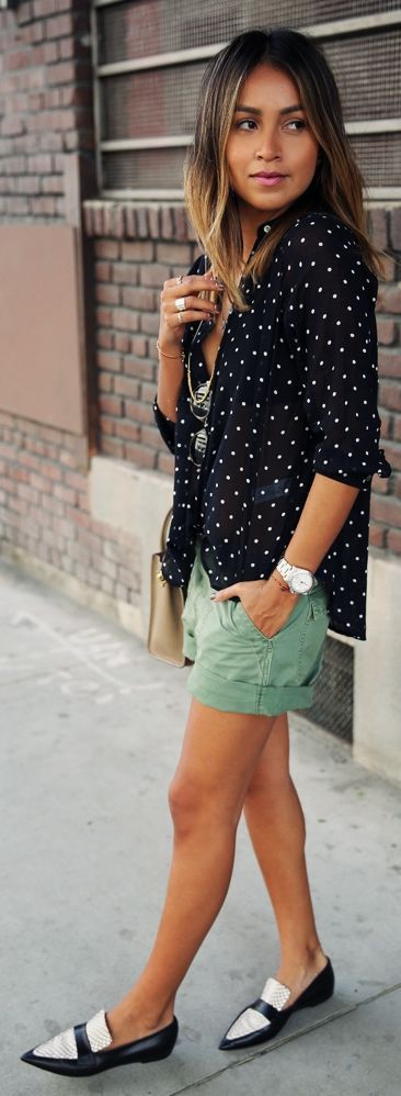 Green Shorts Outfit Idea by Sincerely Jules