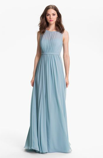 Jenny Yoo 'Vivienne' Pleated Chiffon Gown available at #Nordstrom