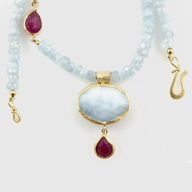 Aquamarine and Pink Moonstone/Ruby  Necklace , sterling silver casing plated in 24k gold.