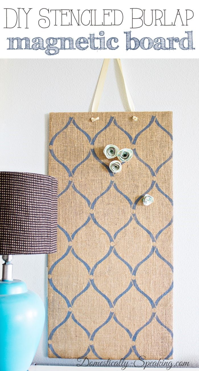 Stenciled Burlap Magnet Board - I should use the hello kitty burlap to make this @Alexandra Jantzen !!!!