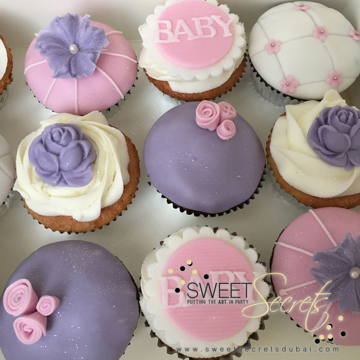 Babyshower, Baby Girl Cupcakes www.sweetsecretsdubai.com