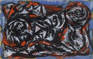 Theo Wolvecamp  Zonder titel  gouche en inkt op papier  19 x 31 cm  uitgevoerd ca. 1990  verso nogmaals een compositie  en twee ateliersstempels