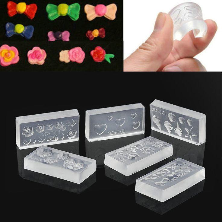 2016 New 6pcs Fashion Durable 3D Silicone Acrylic Nail Mold For Nail Art Decoration DIY Design Nail Tool NB467