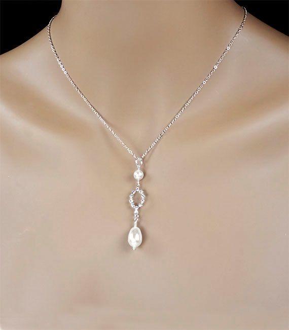 Pearl Bridal Necklace, White Pearl and Swarovski Crystal Y Design Bride Necklace, Bridesmaid Necklace, Wedding Necklace - Angelica (WN0048)