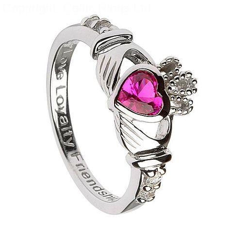 Silver Claddagh Ring with Ruby CZ - July Birthstone