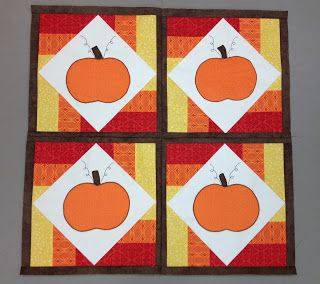 That Crazy Quilty Girl: Glorious Autumn: Pumpkin Patch(work) Tutorial. Strip sets used to frame the center sq.