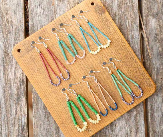 Turquoise and Jade Beaded Earrings Stone Bead by theprophetsbazaar