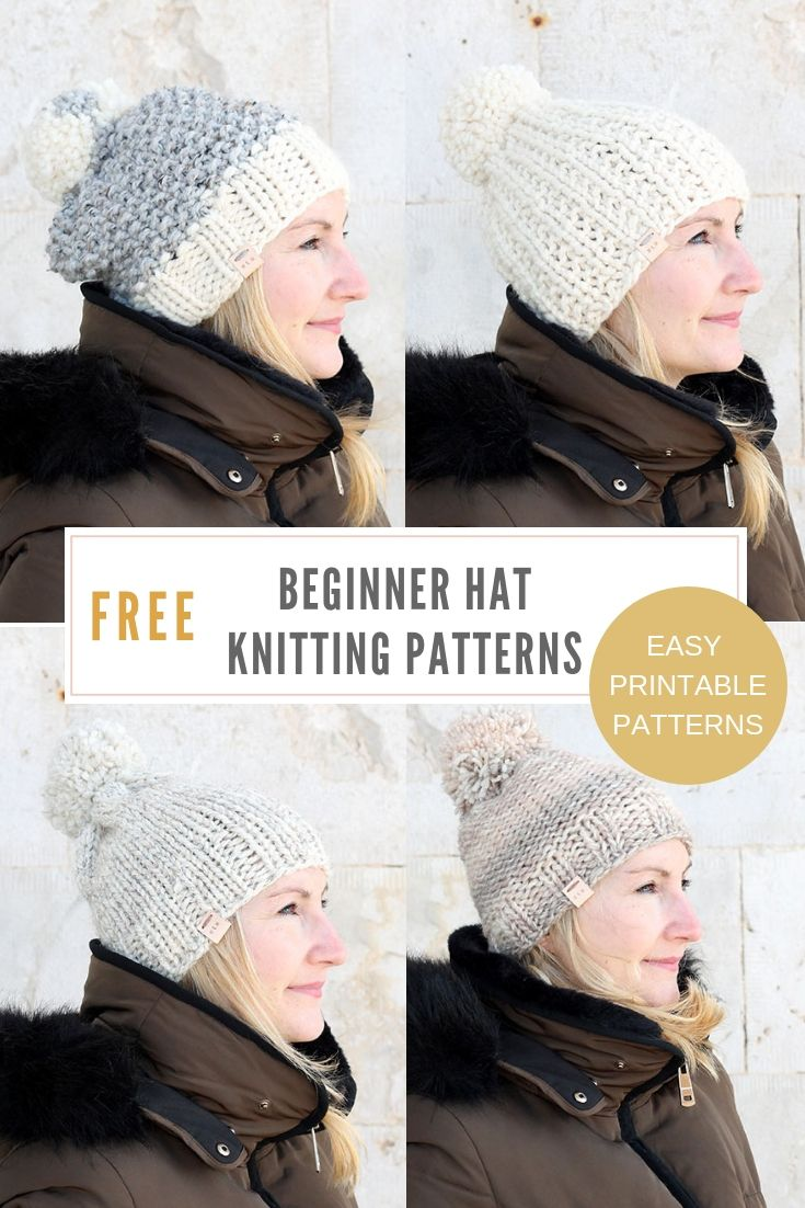 c4e1dda2f46 Free knit hat patterns for women - make a super cosy hat with one of these  free hat patterns that are awesome beginner projects. Made using super  bulky yarn ...