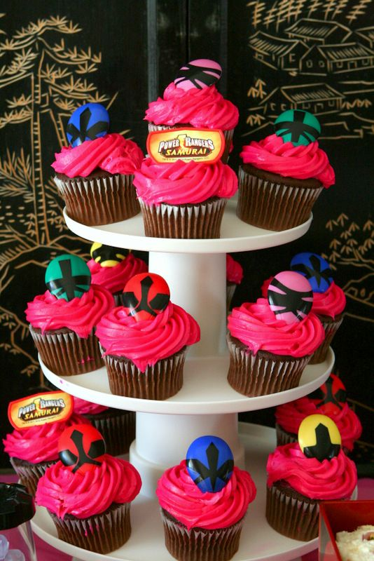 Power Rangers Birthday Party -- Power Rangers Cupcakes