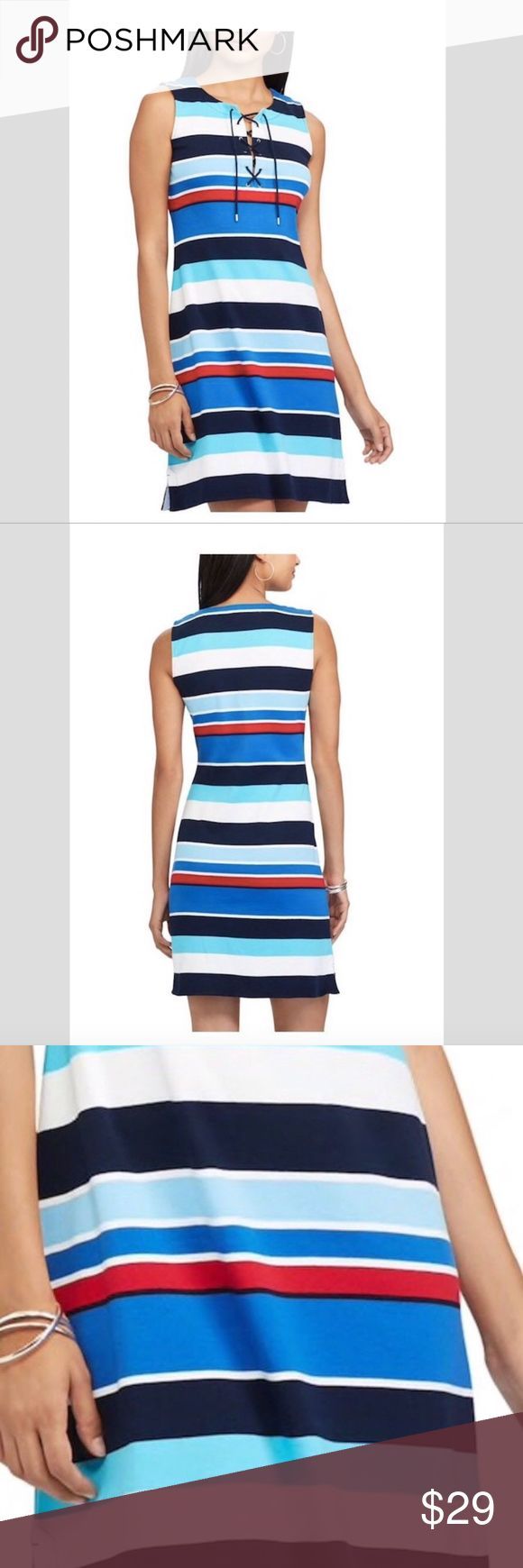 """CHAPS Ralph Lauren Women's Slim Fitting Dress CHAPS Ralph Lauren Women's Stripe Lace-up Dress Cotton Size  XL NEW $69  Please check images for further details.   ***This beautiful elegant Dress is runs small, PLEASE check measurements before you buy. TY  Apx. Measurements: Garment laid flat not stretched.  X Large:  Armpit to Armpit: 20""""  Shoulder to shoulder: 15""""  Length from shoulder to Hem: 39""""  Waist: 18"""" Chaps Dresses"""