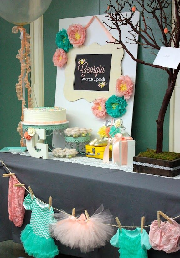 Sweet As A Peach Baby Shower Ideas! Amazingly adorable pictures and ideas! www.CutestBabyShowers.com