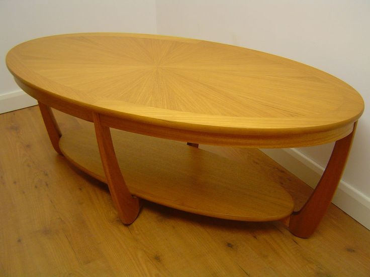 Superb Nathan Light Oak Oval Sunburst Coffee Occasional Table G Plan Ercol Style