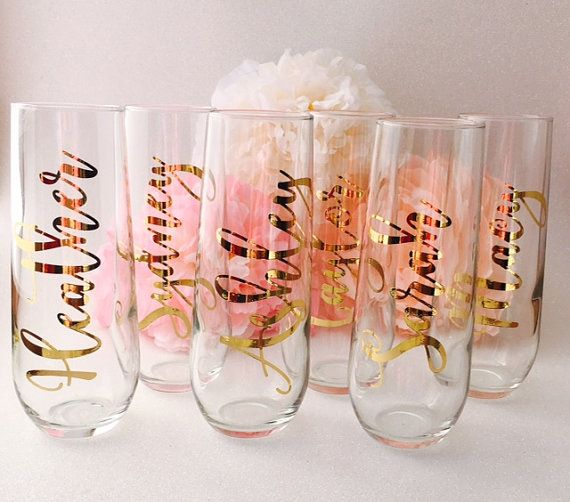 Set of 7 Personalized Stemless Champagne Flutes | Bridal Party Gifts | Baby Shower Hostess Gifts | Bridesmaid Gift | Going Away Party Gift