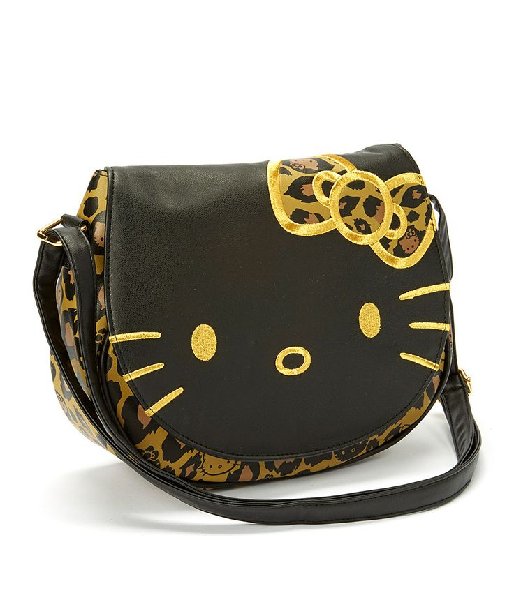 Black & Gold Hello Kitty Leopard Print Crossbody Bag