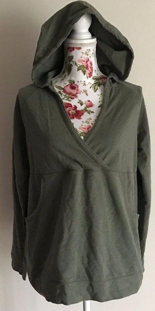 Motherhood Maternity Women's Size Large Olive Green V Neck Hoodie Sweatshirt EUC #MotherhoodMaternity #Hooded