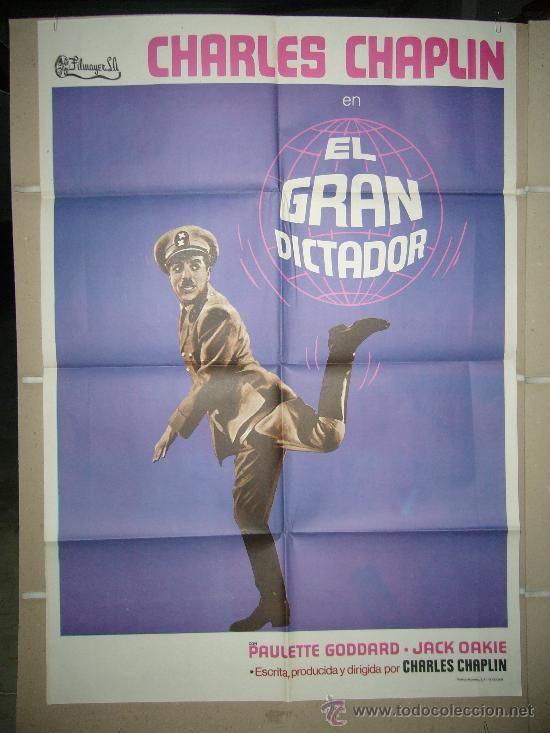 EL GRAN DICTADOR CHARLES CHAPLIN POSTER ORIGINAL ESTRENO (PRIMERA IMPRESION)
