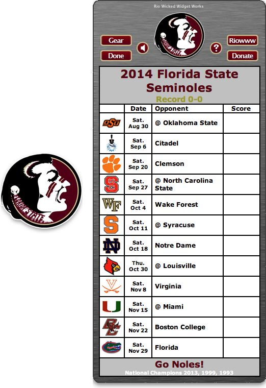 Free 2014 FSU Seminoles Football Schedule Widget - Go Noles! - National Champions 2013, 1999, 1993  http://riowww.com/teamPages/Florida_State_Seminoles.htm