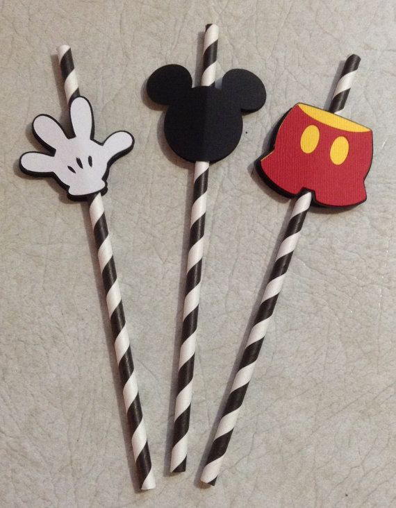 mickey mouse themed straws birthday decorations party supplies