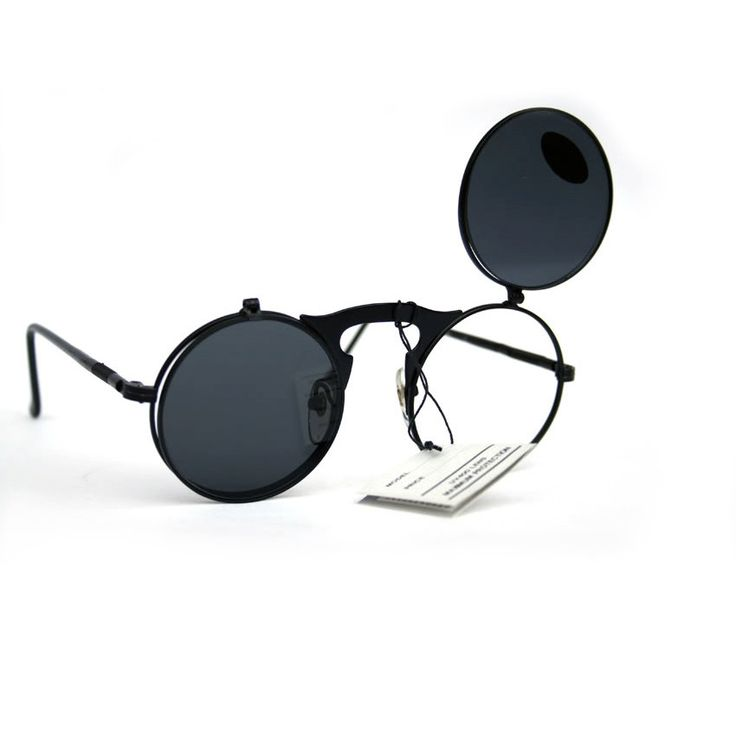 vintage round flip up sunglasses, flat lens, Goth Steampunk silver black
