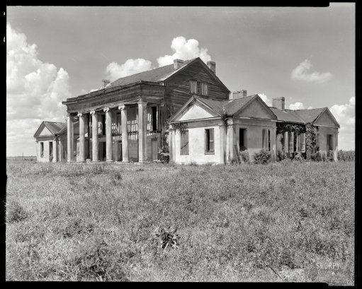 """Assumption Parish, Louisiana, 1938. """"Woodlawn Plantation, Napoleonville vicinity. Built 1835 by Col. W.W. Pugh, first superintendent of schools in Louisiana."""" 8x10 inch negative by Frances Benjamin Johnston. #abandoned"""