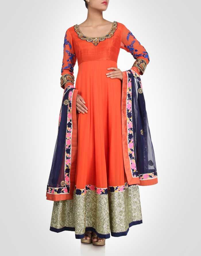 Orange georgette anarkali adorned with zardosi embroidery. Available in more colours. Shop Now: www.kimaya.in