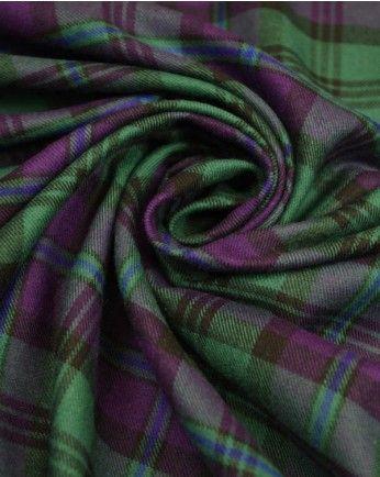 Brushed Cotton Fabric | Green & Purple Plaid | Truro Fabrics