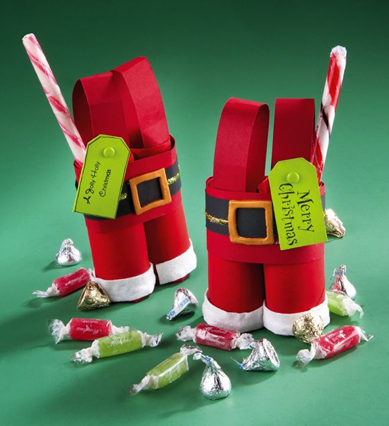 Make sure to save your empty toilet paper rolls for this adorable favors! https://www.craftideas.com/projects/paper/2012/fall/santas-trousers-favors.html