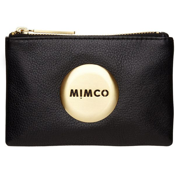 Mimco Mim Pouch ($51) ❤ liked on Polyvore featuring bags, handbags, clutches, purses, accessories, black, leather purse, leather handbags, real leather purses and leather clutches